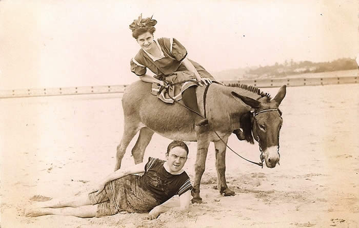 Harry and Nettie Hanson on the beach on their honeymoon in Saugatuck Michigan August 21 1910