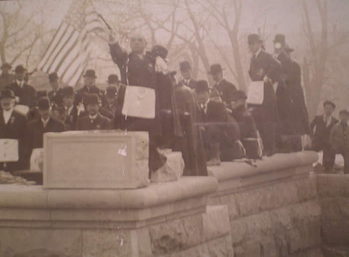 John Guilfoil laying cornerstone Trinidad Colorado city hall January 1, 1909
